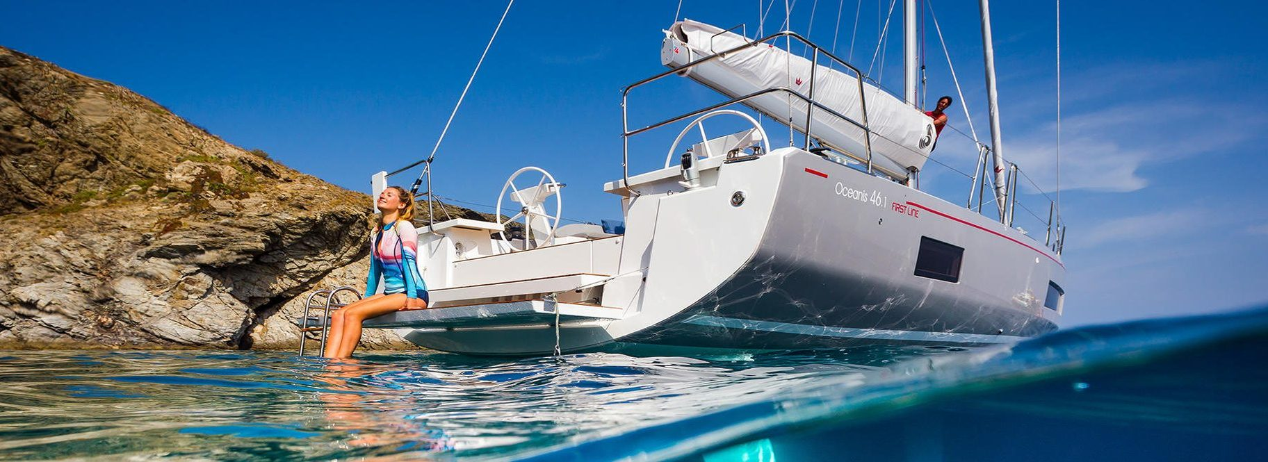 woman sitting on Beneteau Oceanis 46.1