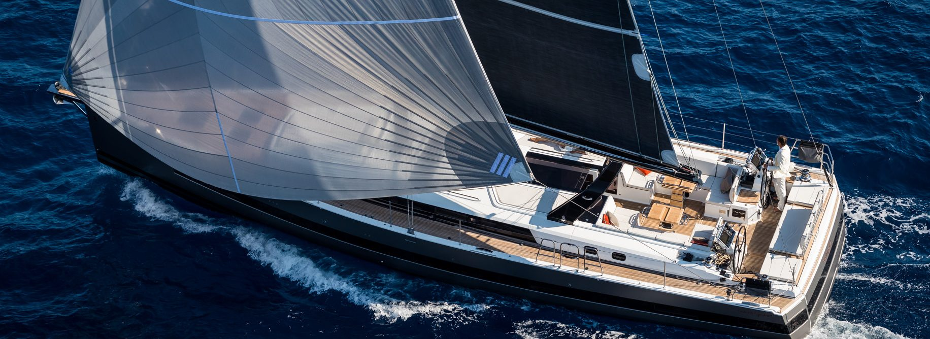 Beneteau Oceanis Yacht 62 overhead on open water