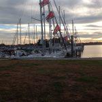 marina slips at dusk