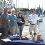 group toasting new boat