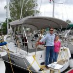 happy customers posing on stern