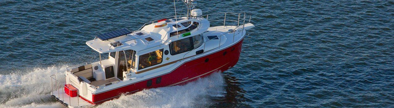 Ranger tugs R 29s overhead open water